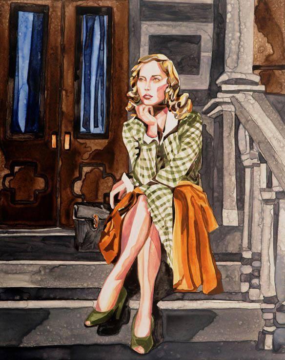 """Pin Stripe watercolor 24"""" x 18""""     ©Annika Connor"""