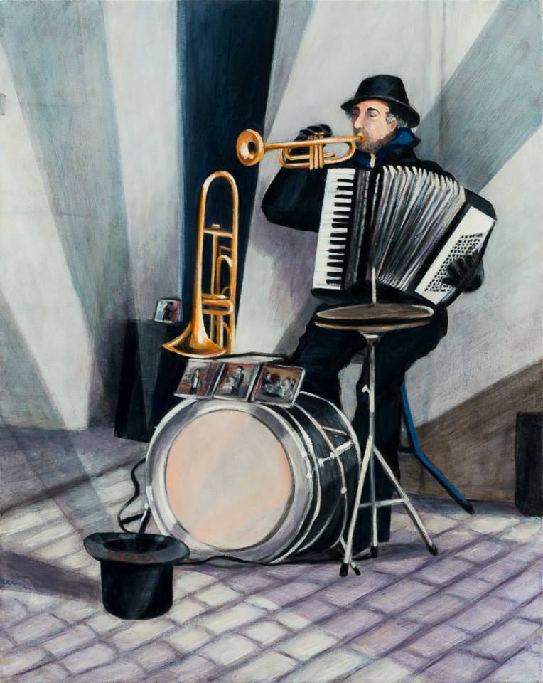 """The One Man Band   20"""" x 16""""   Oil on Linen    ©Annika Connor"""