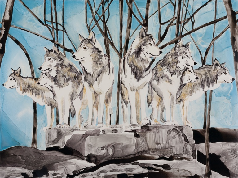 "Wolf Pack   30"" x 40""   watercolor on board   ©Annika Connor"