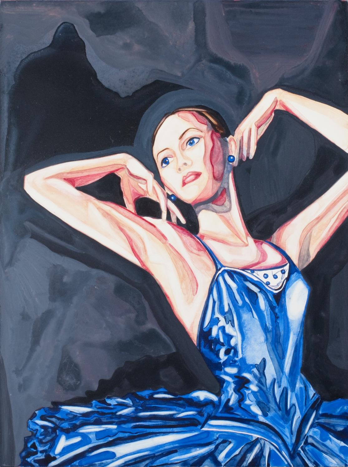 "My Blue Valentine   12"" x 9""   watercolor on board"