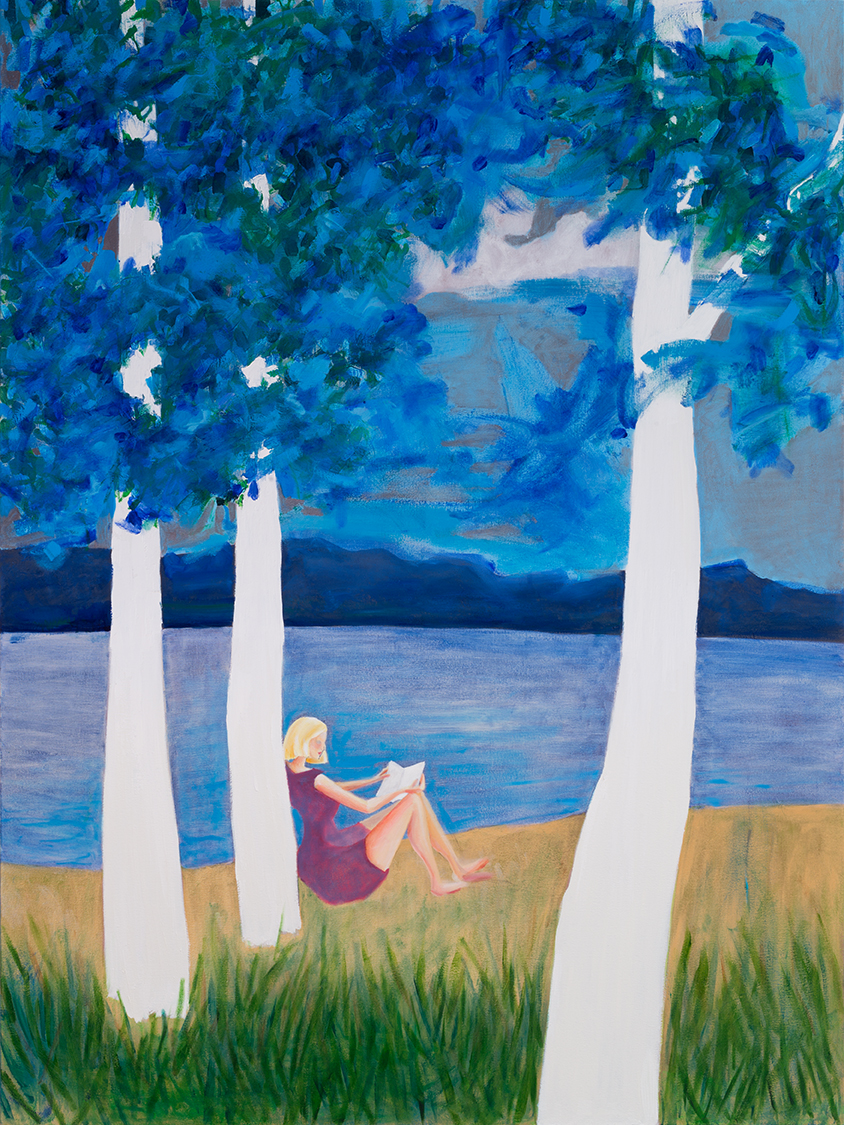 """Blue Trees   Oil on Canvas   72"""" x 54""""   ©Annika Connor"""