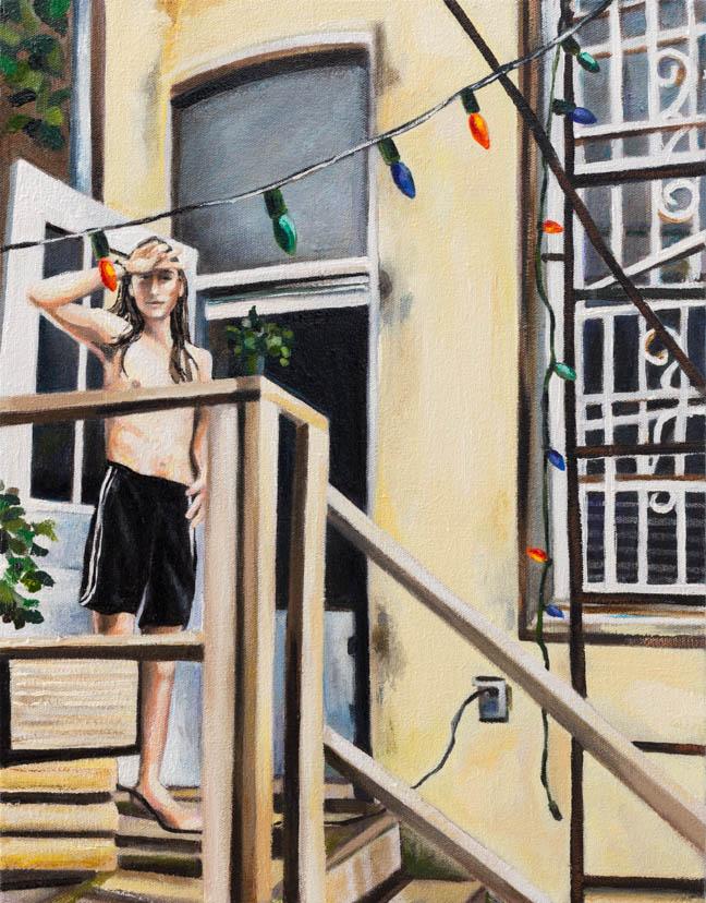 "Bushwick Backyard  18"" x 14""  oil on canvas  ©Annika Connor"