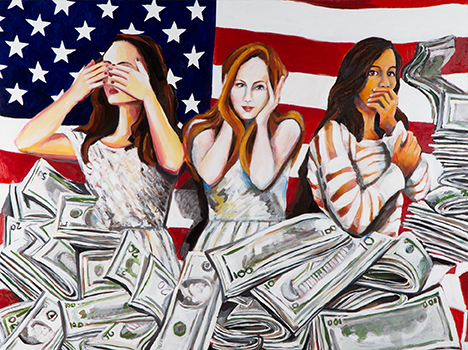 """American Greed  30"""" x 40""""  Oil on Linen  ©Annika Connor"""