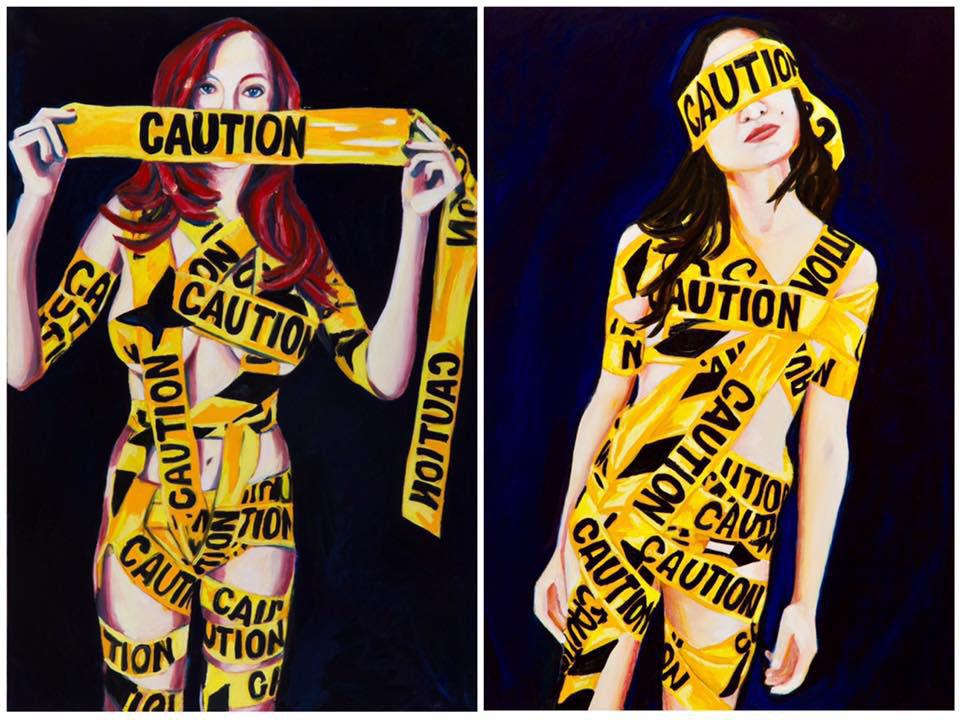 "Caution Caution  Diptych: 36"" x 48""  Oil on Linen  ©Annika Connor"