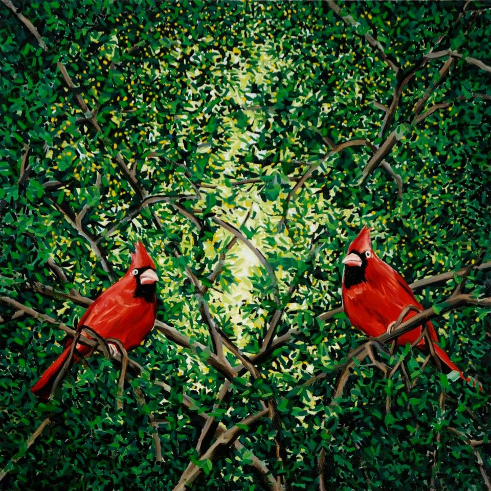 """The Cardinals 50"""" x 50""""  oil on canvas  ©Annika Connor"""