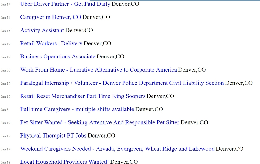 (Real life. Denver at least has a low-unemployment rate) -