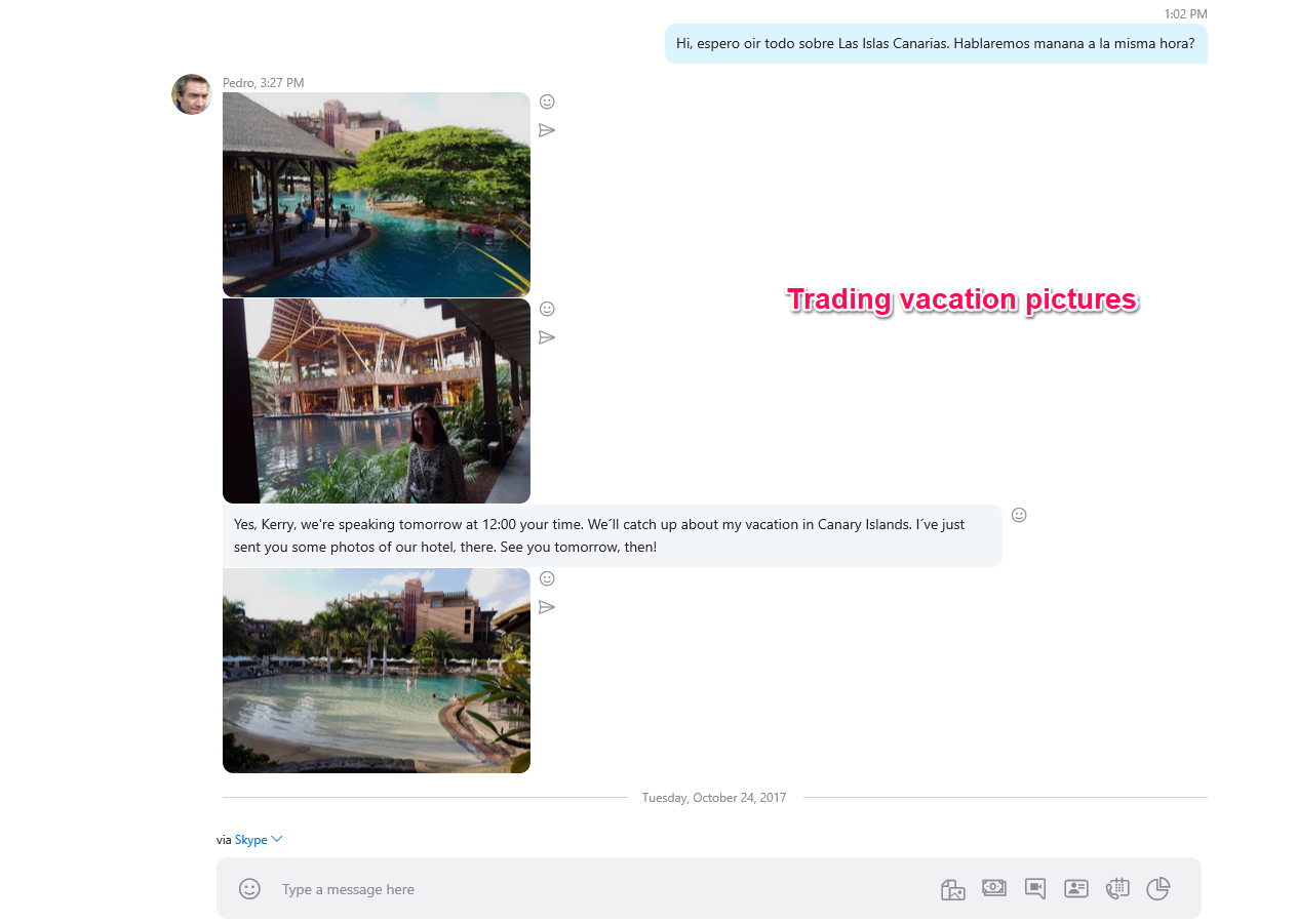 - Trading vacation pictures with a free language exchange practice partner