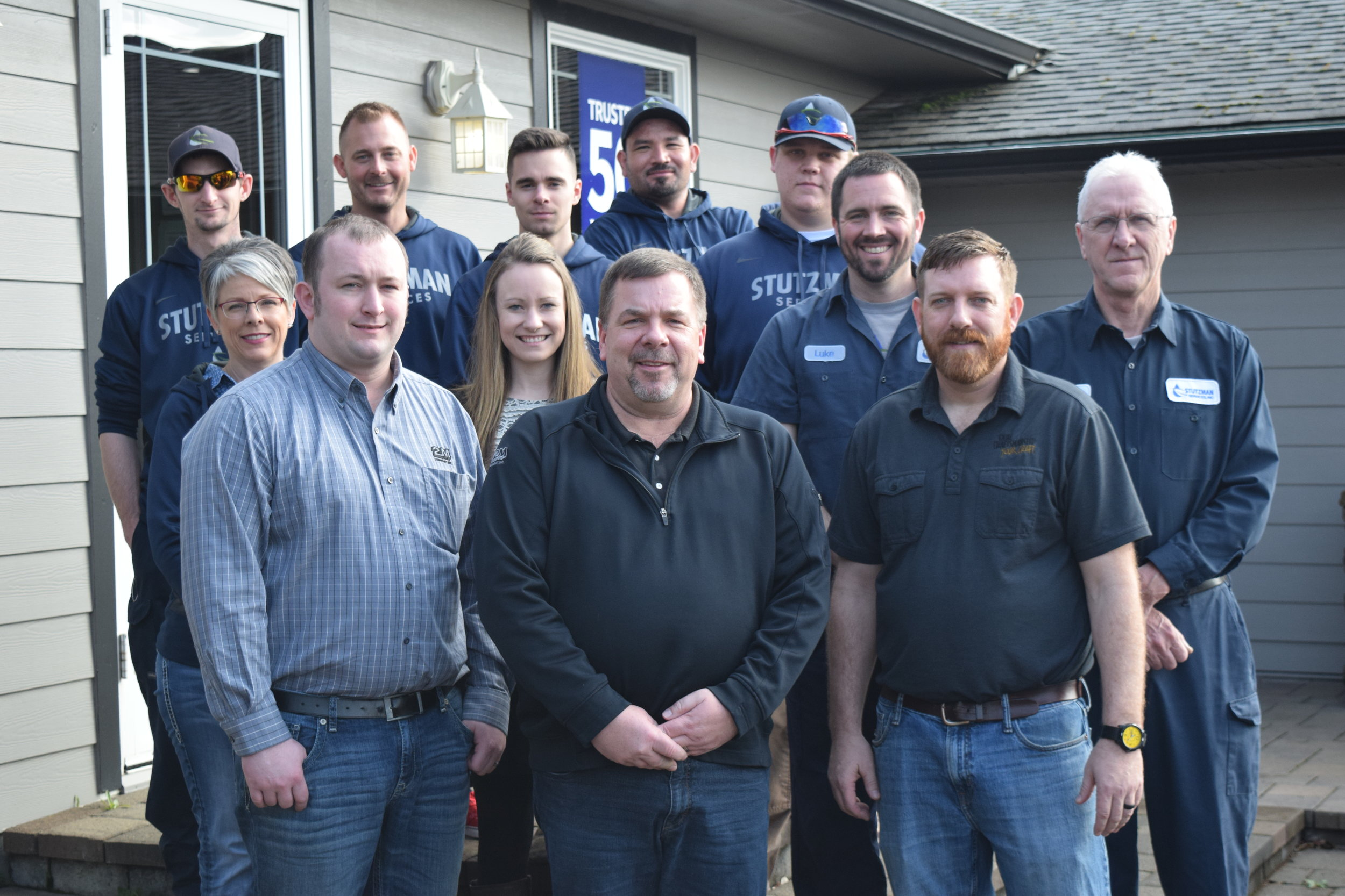 The Stutzman Services Water Systems team accompanied by guests (front row, left to right) Kevin Hettwer and Bruce Hunt of  2M Company  and Jeremy Corbin, Field Service Engineer with  Franklin Electric.