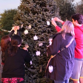 Community members affix stars to the Light Up A Life tree at Camino Real Marketplace in Goleta. (Hospice of Santa Barbara photo)