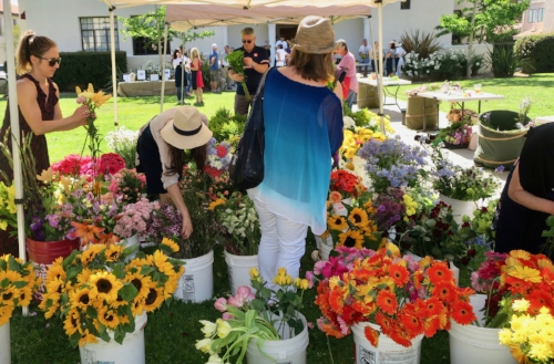 Volunteers and guests create bouquets