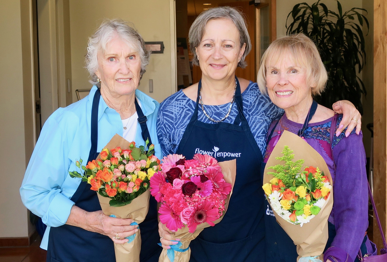 Volunteer Kathleen Ranney, VP of Programs Barbara Schoch, and volunteer Sidonia Slaff.