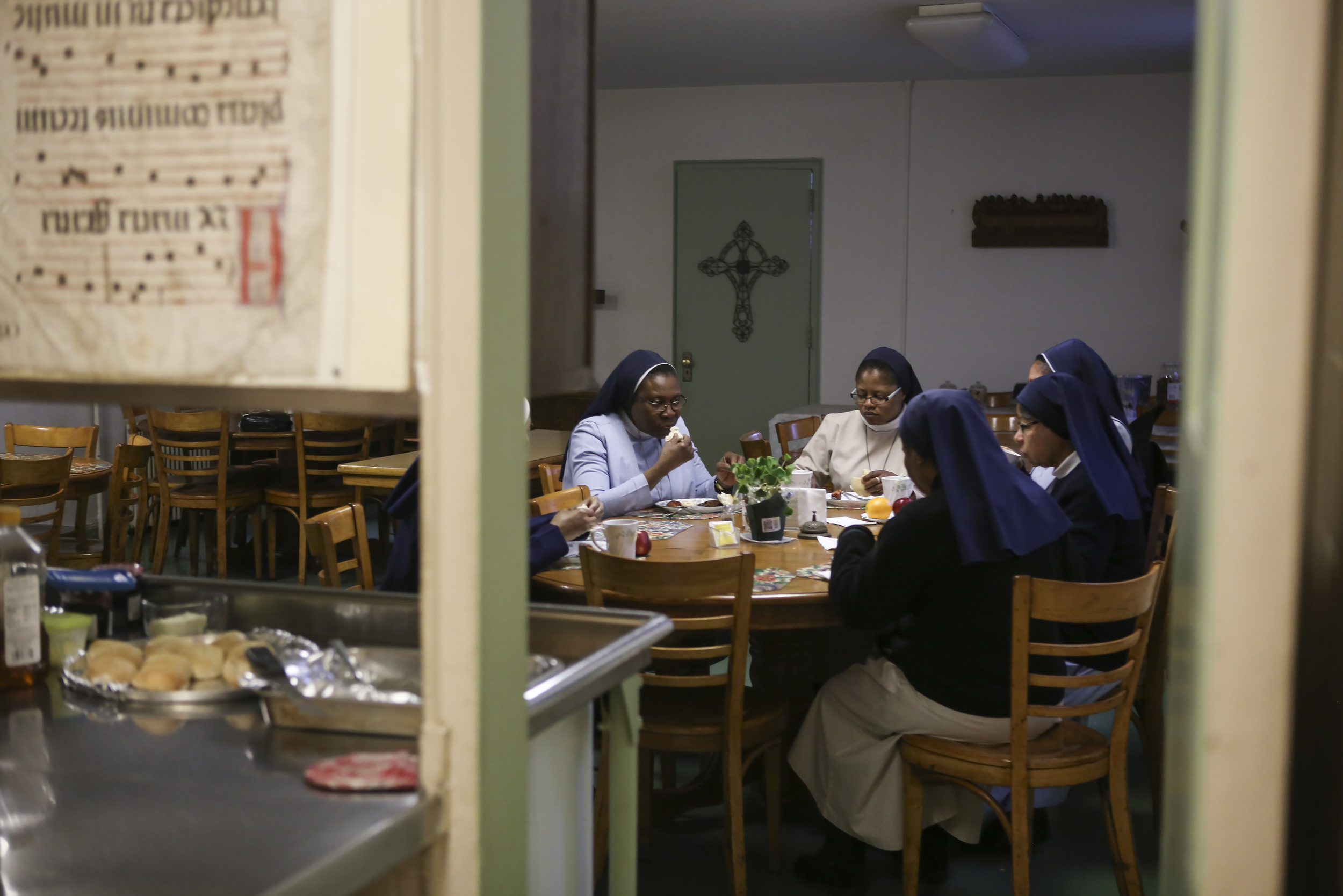 The sisters gathered together for breakfast at the mother house before attending church on Sunday.
