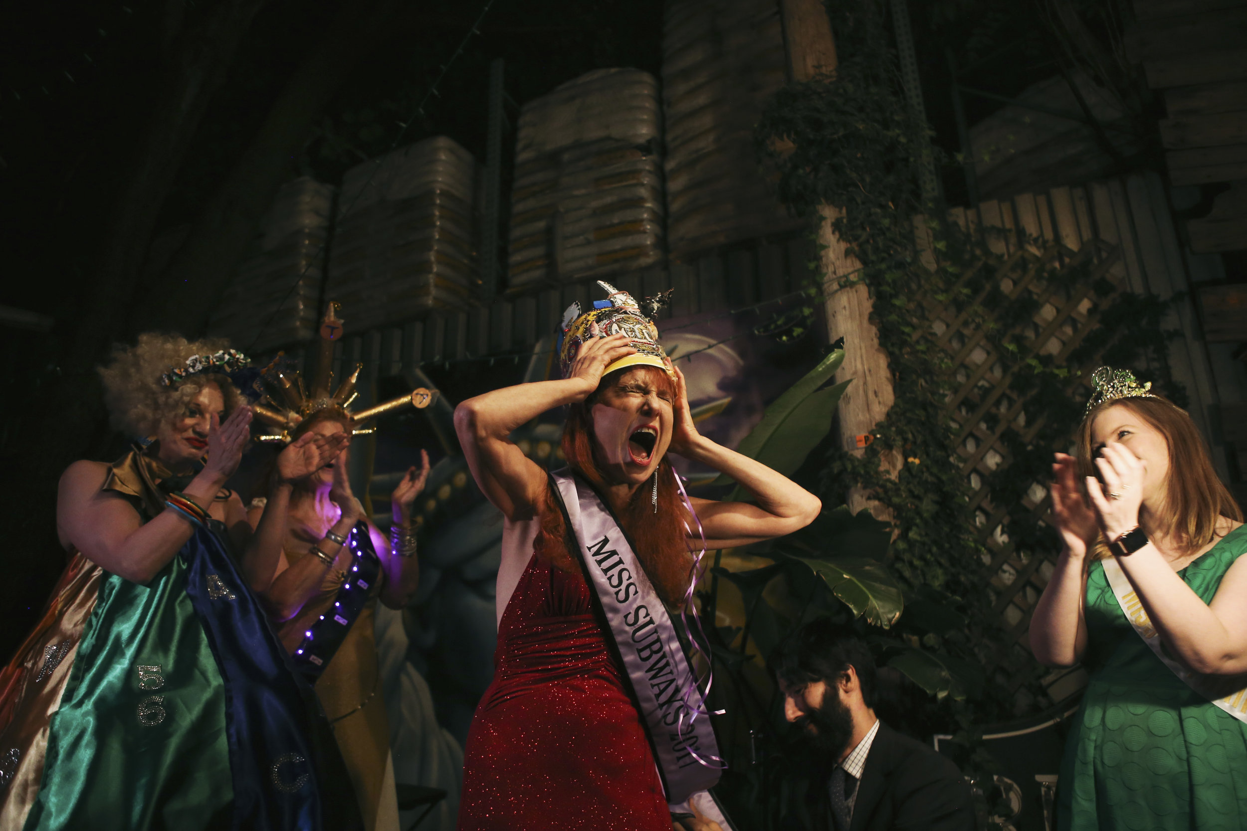 Lisa Levy reacts after being crowned Miss Subways 2017. The pageant was put on by the City Reliquary Museum in Williamsburg.