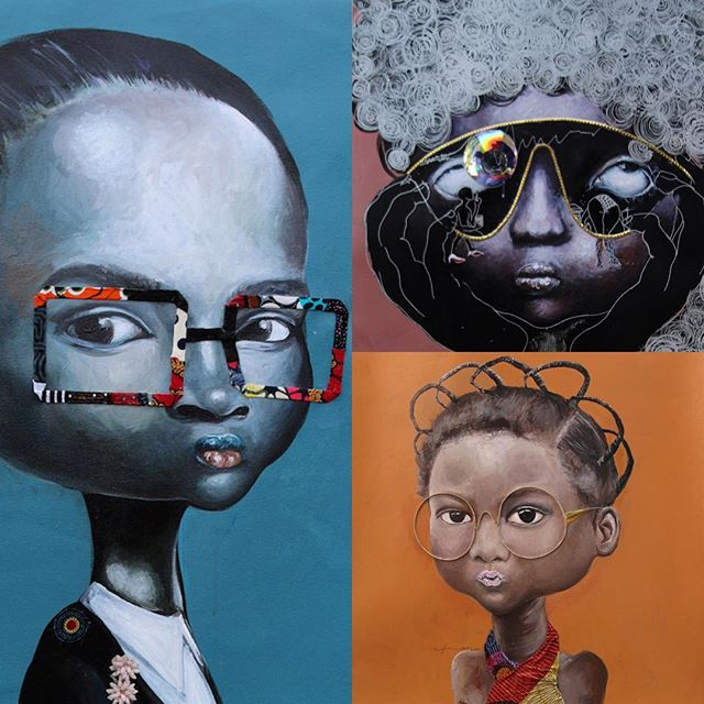 "Artist: NDIDI EMEFIELE  Acrylic, printed fabrics, plastic, embellishments on canvas  The exaggerated heads are symbolic, particularly in the western part of Nigeria. It is called the ""Ori"" and considered the most important part of the body, it is said to control a person's destiny. The glasses are her strategy to give the female some form of protection.  #queens #art #painting #artsy #beautiful #instagood #creative  #culture #beauty #artoftheday #portraiture #blackisbeautiful #femaleartist #africanart #mixedmedia #nigeria #contemporaryart #culture #africa #blackgirlmagic"