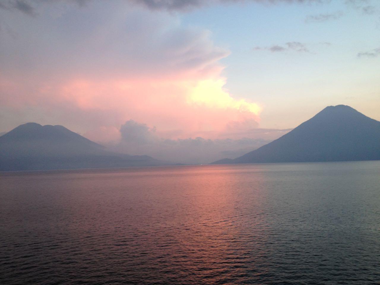 View of Lake Atitlan at sunset