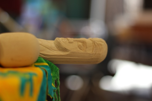 A close up of the top of Sandee's walking stick.