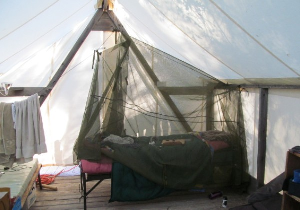Here is a view of my accommodations. The mosquito net worked great up until the last night.
