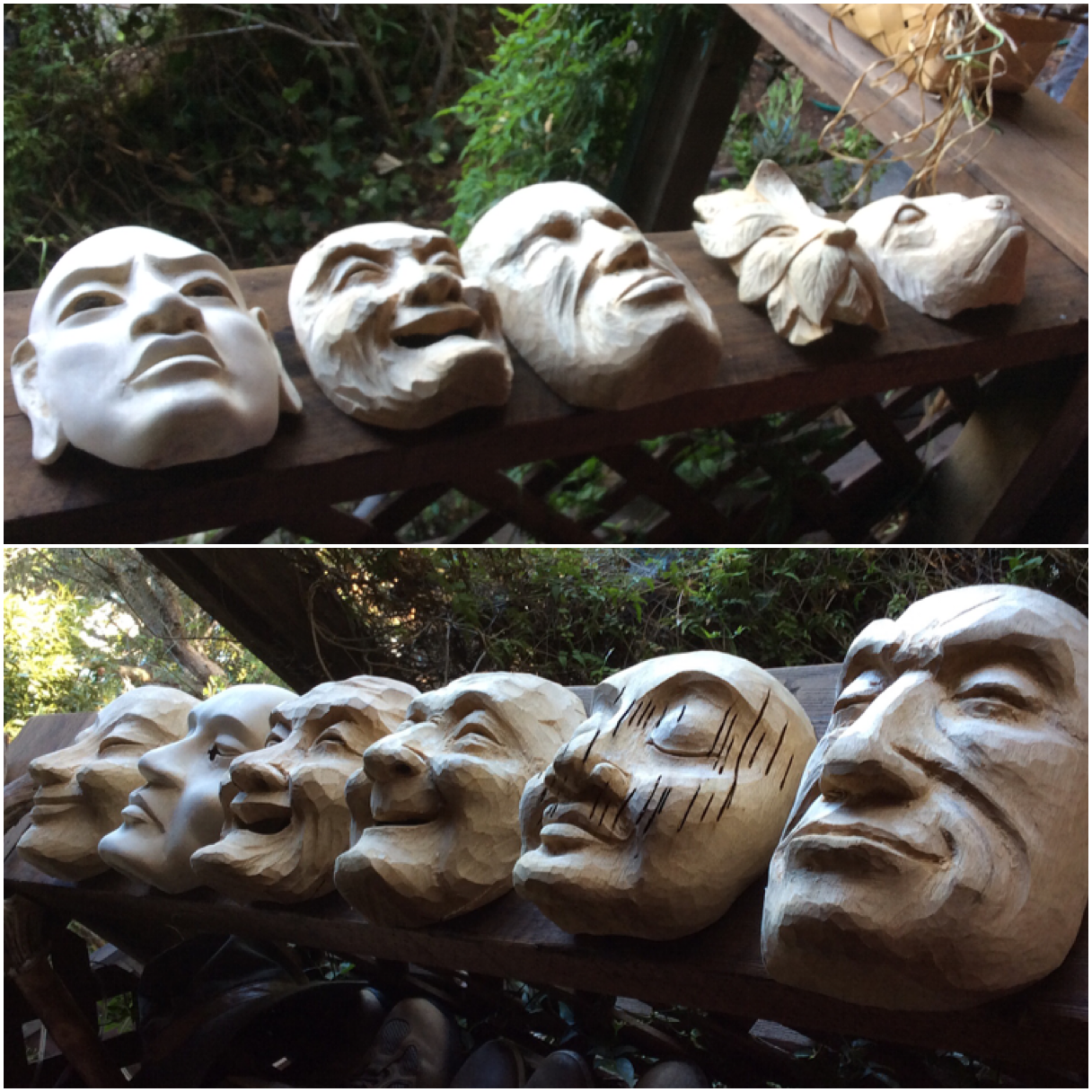 Here are the results of the final days of the from both of the Bali mask carving workshops. Everyone got far enough along to finish on their own. Lots of diversity this year.