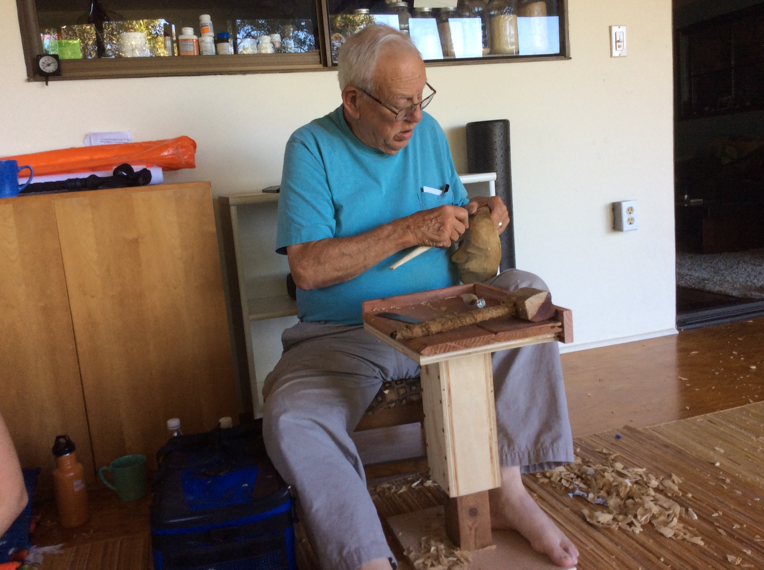 This year I came up with a portable and adjustable workbench that allowed some of the carvers to successfully work sitting on a chair rather than sitting on the floor in the traditional Balinese style.