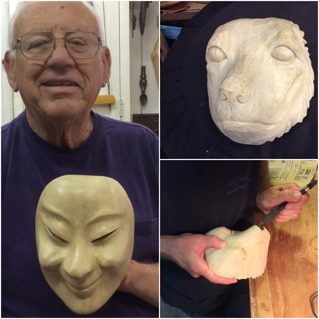 Art decided on a clear wax finish for his smiling fisherman mask. Patrick's mask is a portrait of his dog. He will add some leather floppy ears and he woodburned the nose and eyes.