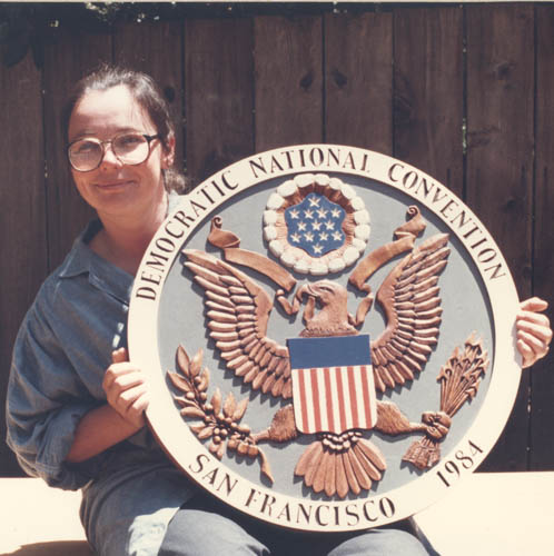 Back when I first started teaching woodcarving I carved the Presidential Seal for the podium for the Democratic Convention that was held in San Francisco that year. That was a few years ago.