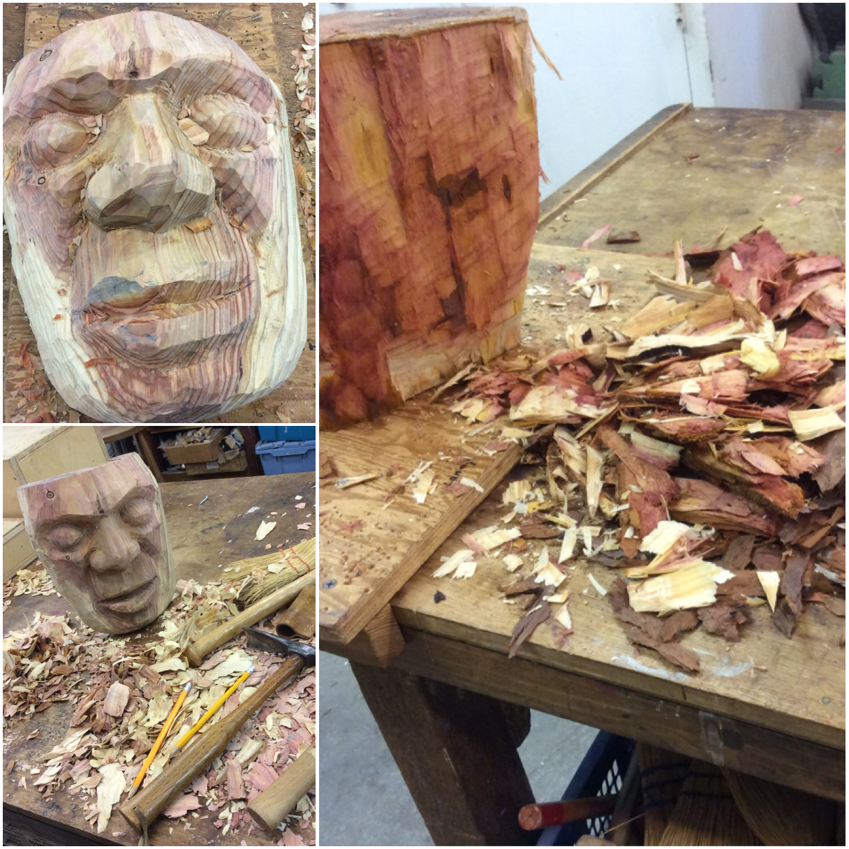 I  have been using some of my Balinese mask carving skills and trying out carving  some green wood for a mask.  I got this wood from my friend  Susan Koenig  from a large tree branch she had to remove.  It was quite wet and easy to rough out.