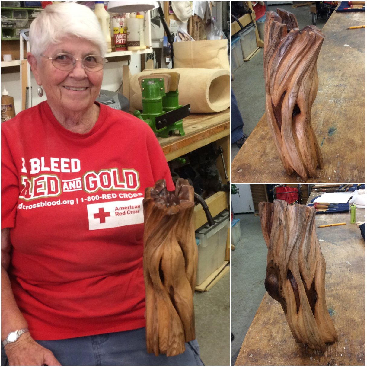 Lorraine finished up this wonderful Chinese Elm abstract piece. She used the existing cracks to guide her design. The dark heart wood is exposed in some of the creases and makes the whole piece quite dramatic.