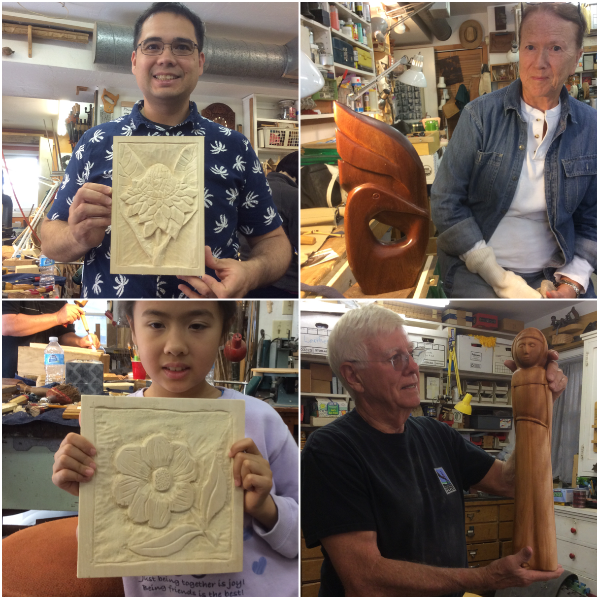 Here are some finished projects from the past month.  George and Amelia both finished up carved basswood flowers.  Dave finished his lovely St. Francis sculpture that was inspired by a Benny Bufano piece.  Rise completed this stylized bird carved from African Mahogany.  It finished to such a lovely sheen but I think we all agreed that African Mahogany is REALLY difficult to carved and to sand.  Best left for cabinetry rather than carving.
