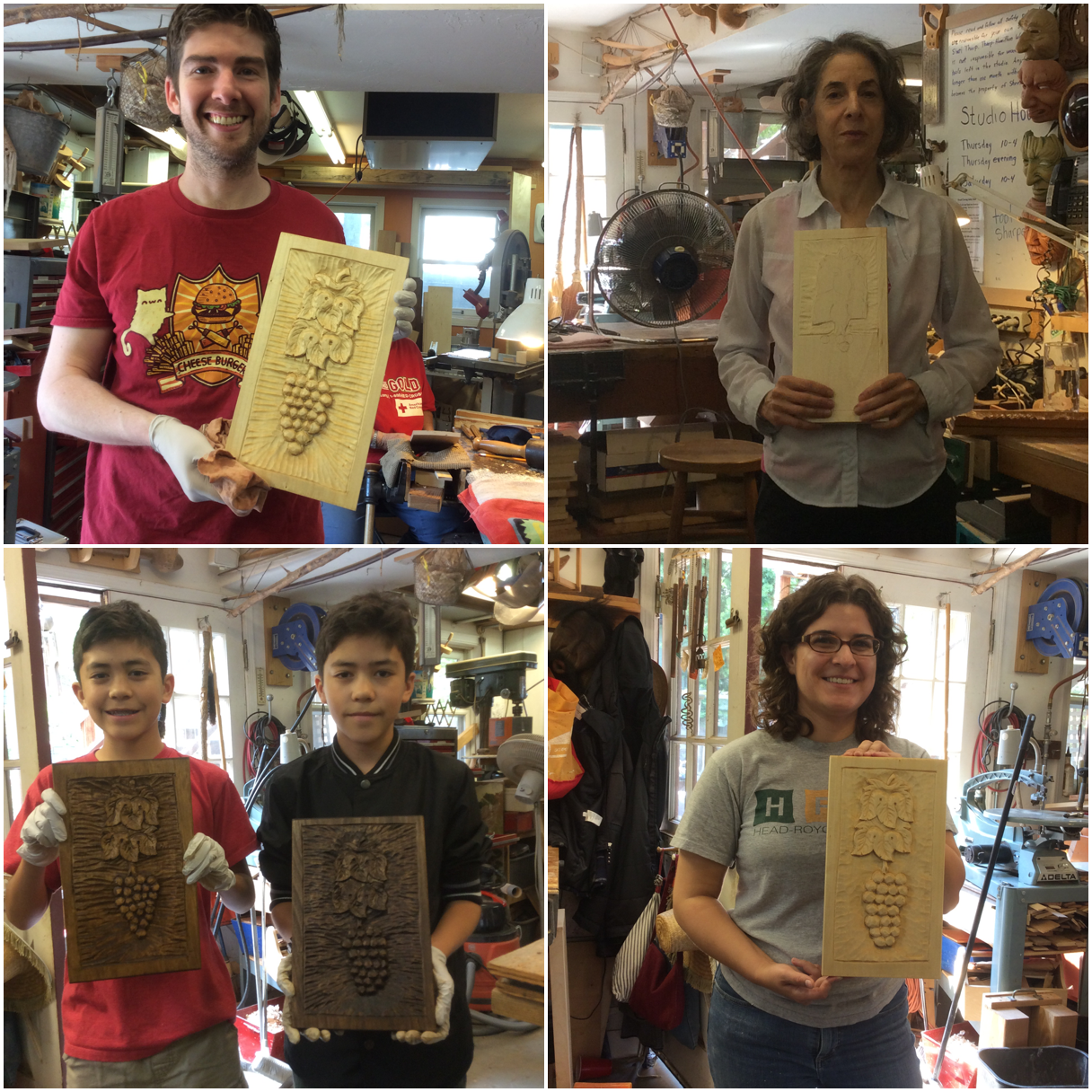 Welcome to the new Grapes and Leaves Graduates, Brian, 13 year old brothers Jacob and Gabriel and Alison.  A special welcome to Ellen Crouch starting her Grapes and Leaves.  Ellen is the daughter of Al Crouch, the wonderful carver that taught me how to carve letters.