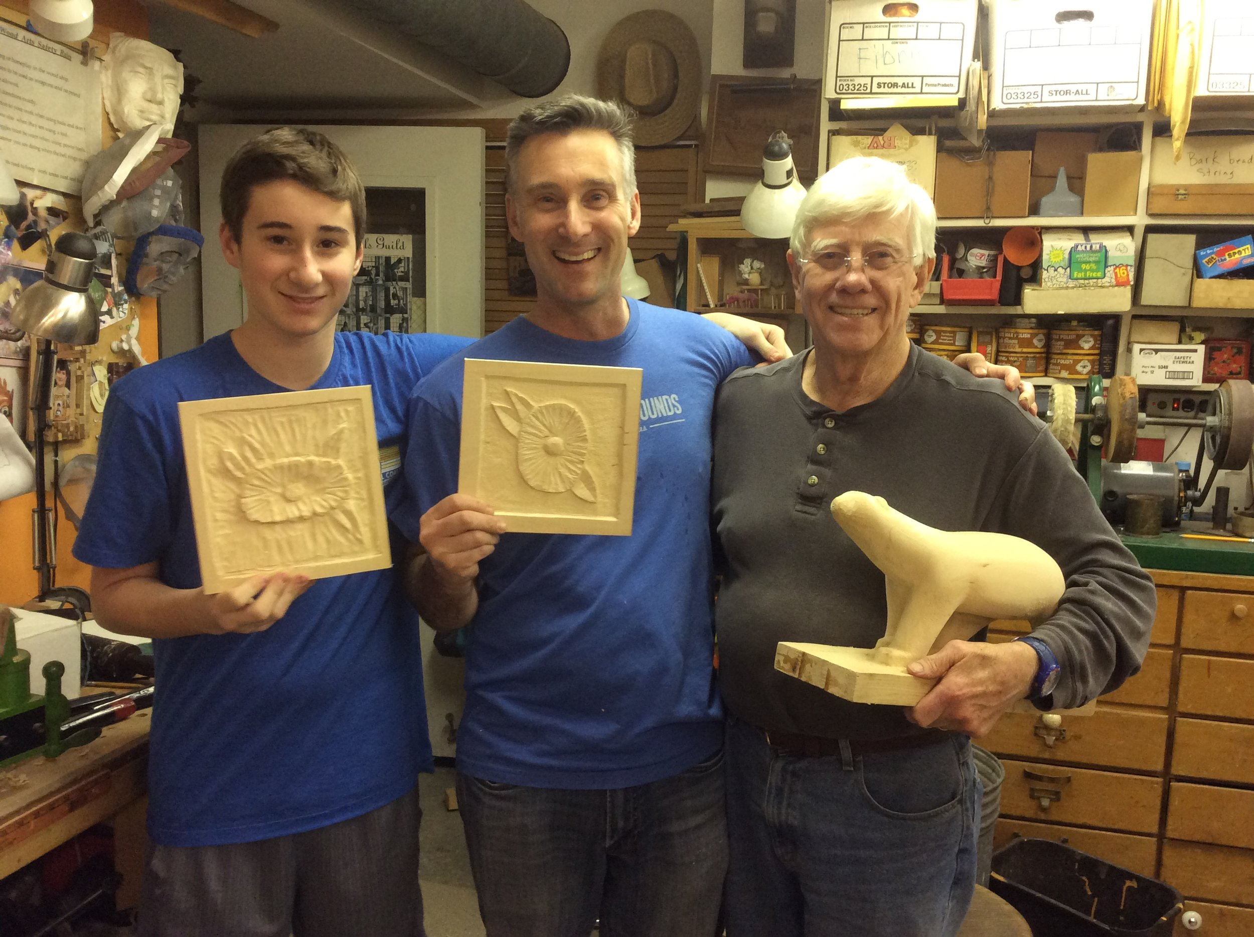 One of my favorite teaching assignments is to teach multi generations. In January Dave's wife, daughter and several female family members made the trip to DC to join the Women's march after the inauguration. While the Women folk were off marching Dave and his son Chris and Grandson Zachary joined him for the day carving. I loved having the family carving together.