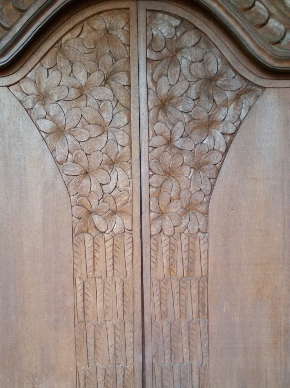 The doors to my room. Each set of doors in the building were carved with similar but individual floral designs.   Everywhere there was such beauty.