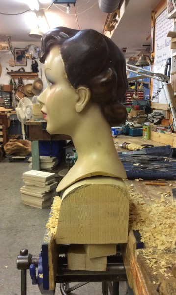 """The base of the head needed to seat closely to the top of the stand. There is a 5/8"""" steel rod that comes out of the bottom of the head. I used a hand plane to get the fit as close as possible."""