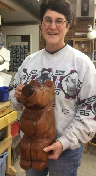 Robyn is finally happy with her Bear carving. It took a couple of tries and she was not smiling when she first started carving the bear in what turned out to be a rather punky piece of sugar pine. After ditching the pine she got some Redwood which, although hard to carve, turned out really great. The Redwood had pretty open growth rings and was dry so she is on coat # 12 of Watco and he is still sucking it up.