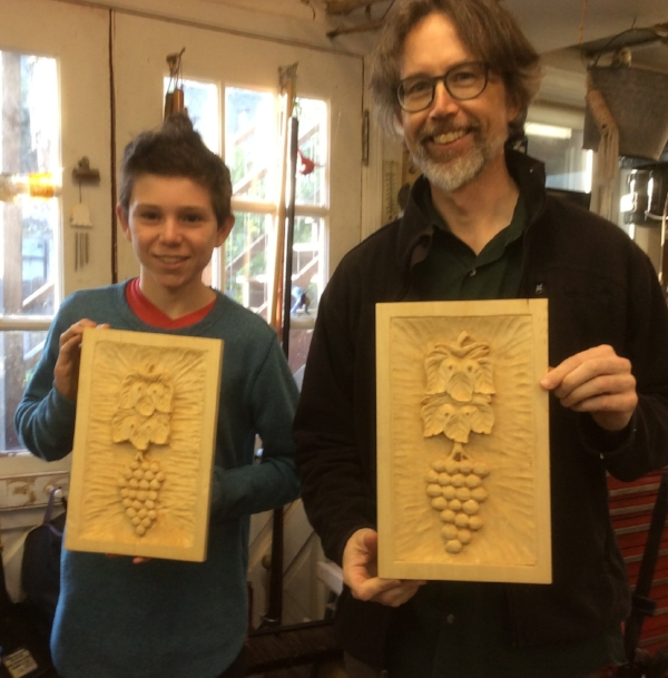 Jim and Josey finished Grapes and Leaves. This is part one of a school project that Josey is working on for school. Part two is a scale model carving of a totem pole.