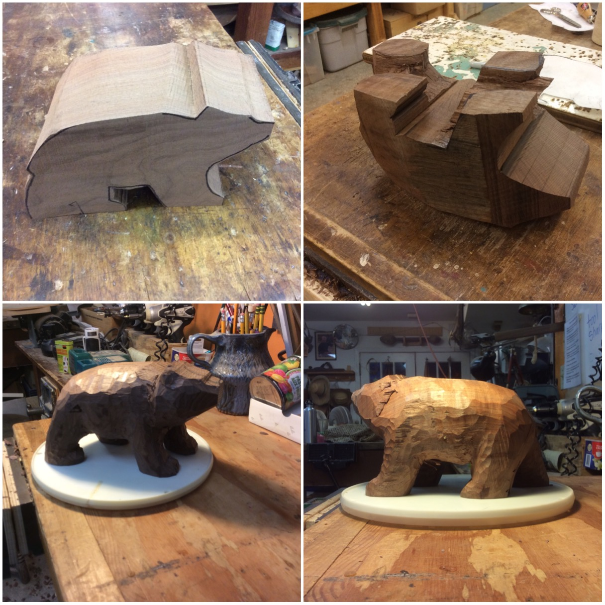 Had a commission piece for a carved bear.  Here are some process pics of the Claro Walnut Bear