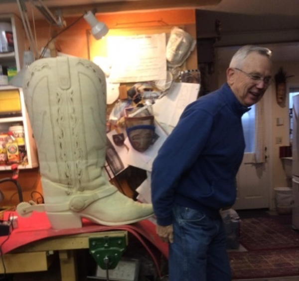 The carving and the wood burning are done on DC Bill's Big Boot. He is doing the staining and we hope to see it in all it's glory soon.