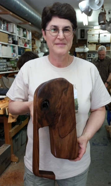 A while back woodcarver Owen brought in some scraps from a project that was completed at his woodworking job. The pieces were too small for furniture or cabinets but the woodcarvers have made lots of different projects from the wood. Robyn's Elephant takes the prize. The knot makes a perfect eye for this piece that is going to a 4 year old elephant enthusiast.