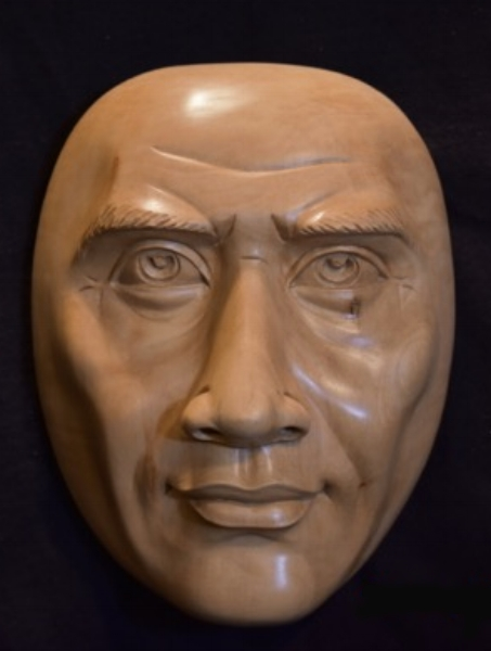 Previously I showed four of the 8 expression masks that I commissioned Anom to carve for me. Here is #5.