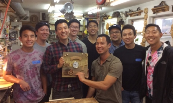 This last month I got a call about another private class. This one was a first for me. The young man wanted to do a special woodcarving class for a bachelor party. What? Well it turns out that the groom was an avid outdoors man and loved DIY. After a bit of planning we came up with an idea based on Robin's clock that was posted on my website. It was a wonderful bunch of young men and we had a great time.
