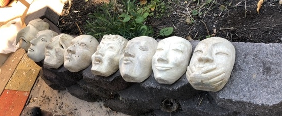 Each mask was so unique. Art's mask is the third from the left. They all have some final work to do but they are all so very wonderful.