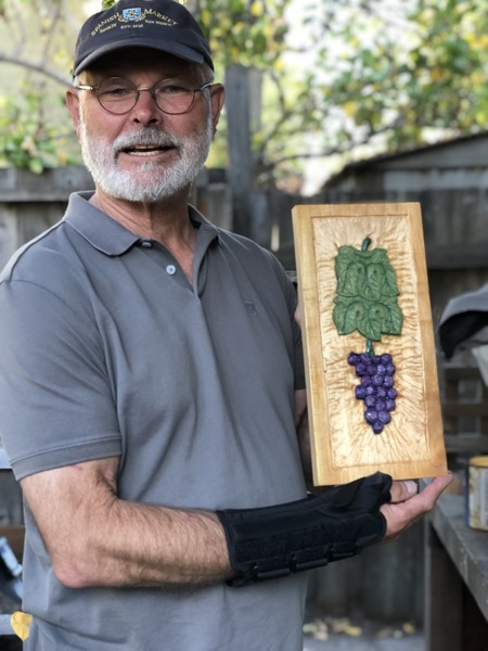 John finished his grapes and leaves and opted to add some color.