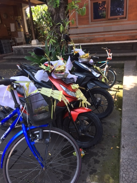 In Bali all metal tools are honored and decorated, carving tools, kitchen knives and even the bicycles and scooters.
