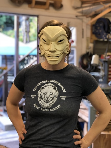 Radhika was able to finish off her mask from the Mask carving workshop in time for a Halloween costume party.  Her identity remained anonymous until she removed that mask well into the party.