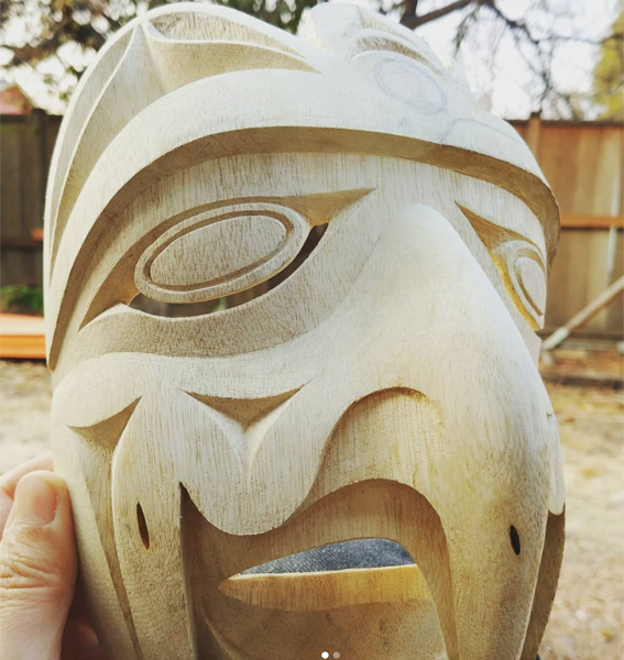 Twiggy was in the mask workshop and carved this lovely mask.  She is working on the final finishing and I can't wait to she how she handles the coloring.