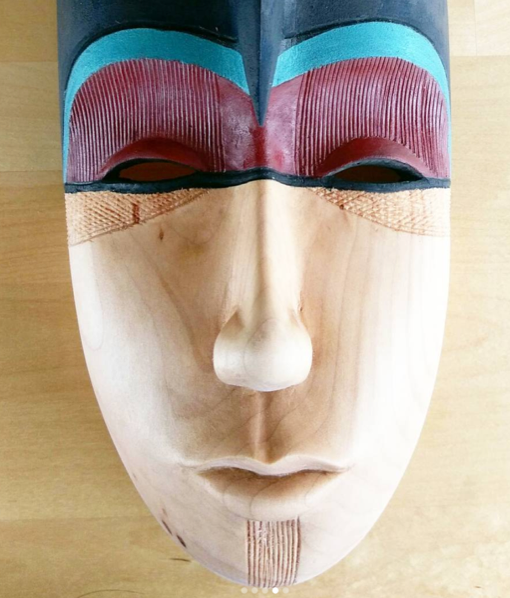 This is Twiggy's first mask that she started when she was my assistant at the Sunnyside Randall Kids and Adult classes. She finished it at the studio. Lovely use of color and texture.