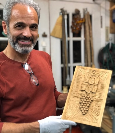 Thursday evening woodcarver, Babak, finished his grapes and leaves. Welcome to our group.