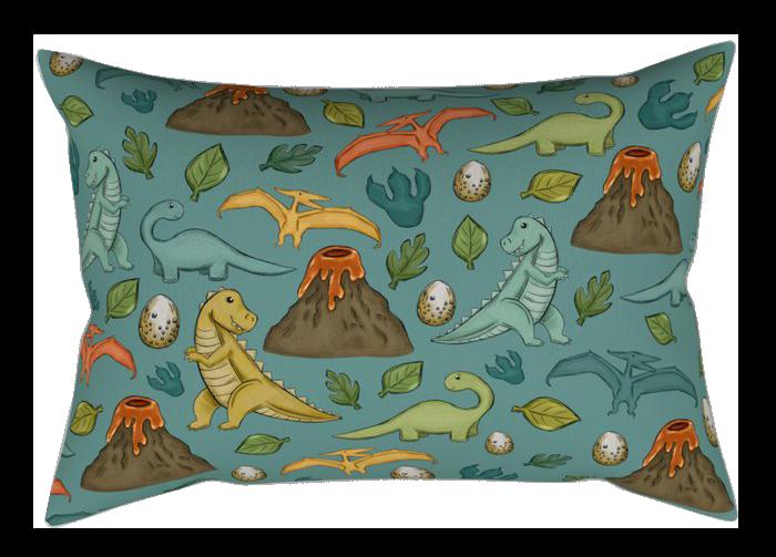 dinosaurs-jurassic-art-volcanos-t-rex-dino-print-dark-blue-rectangular-pillows.png