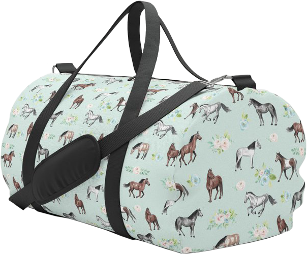 Horses and Flowers Duffle Bag For Girls