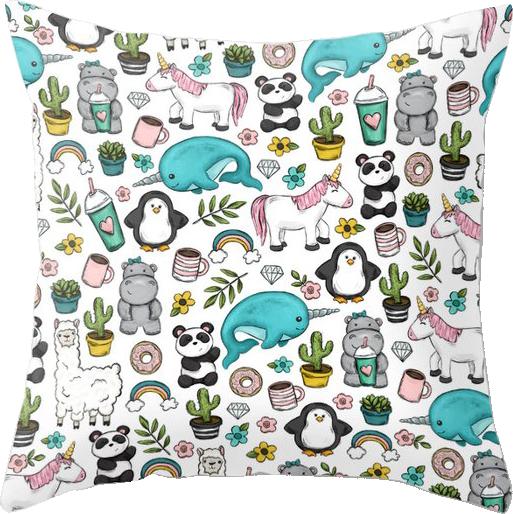 Animal Emoji Tween Girl Throw Pillow
