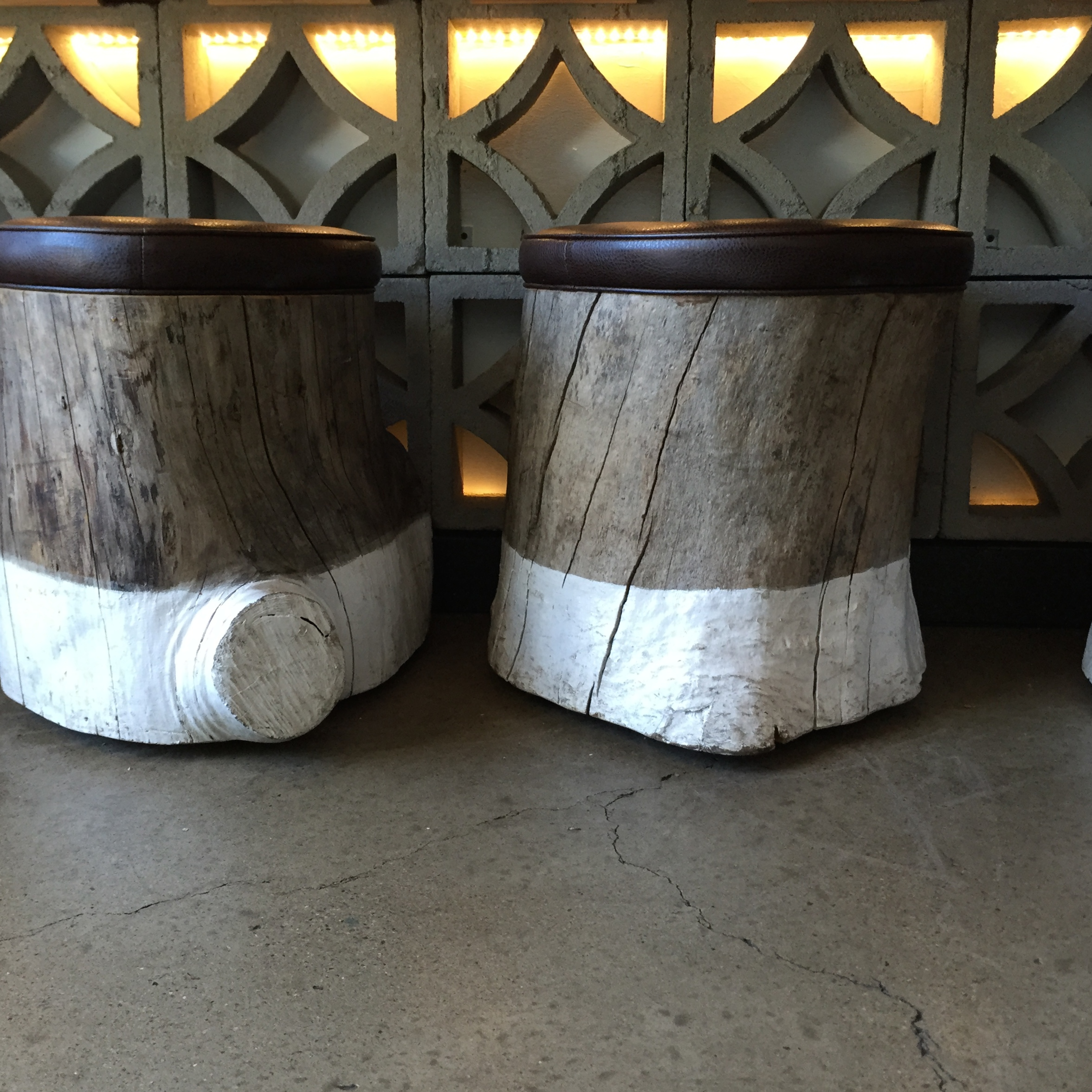 // Love the dipped tree trunk stools